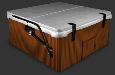 Cover lifters spa hot tub covers accessories call 800 spa cover - Hot tub cover lift with and without gas shocks ...